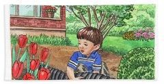 Boy In The Garden Helping Parents Hand Towel