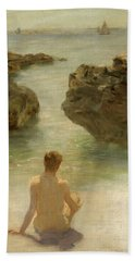 Bath Towel featuring the painting Boy On A Beach, 1901 by Henry Scott Tuke