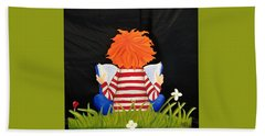 Boy Reading Book Hand Towel