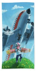 Bath Towel featuring the digital art Boy With Airplane On Hilltop by Martin Davey