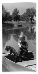 Boy With Dog In Fishing Boat Bath Towel