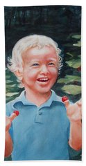 Boy With Raspberries Hand Towel by Marilyn Jacobson