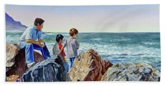 Boys And The Ocean Hand Towel