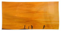 Hand Towel featuring the painting Boys At Sunset by Ian  MacDonald