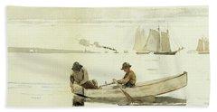 Boys Fishing, Gloucester Harbor, 1880  Bath Towel
