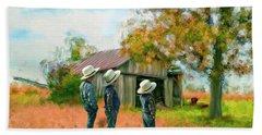 Boys On The Farm Hand Towel