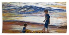 Hand Towel featuring the painting Boys Playing At The Beach by Ryn Shell