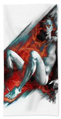 Hand Towel featuring the drawing Bradley With Mood Texture by Paul Davenport
