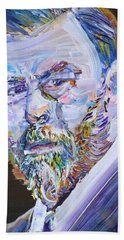 Hand Towel featuring the painting Bram Stoker - Oil Portrait by Fabrizio Cassetta