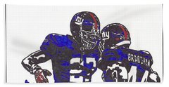 Bath Towel featuring the drawing Brandon Jacobs And Ahmad Bradshaw by Jeremiah Colley