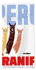 Braniff Airways Peru Llamas Travel Poster Hand Towel