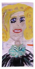 Bath Towel featuring the painting Brash Blond by Mary Carol Williams