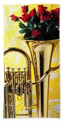 Brass Tuba With Red Roses Bath Towel