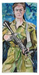 Bravado, An Israeli Woman Soldier Hand Towel by Esther Newman-Cohen
