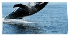 Breaching Humpback Whales Happy-2 Hand Towel