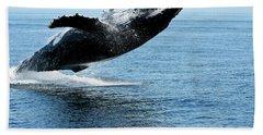 Breaching Humpback Whales Happy-2 Bath Towel