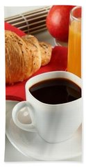 Breakfast Coffee Milk Orange Juice Croissant Apple Cup White Saucer Jug 75192 300x450 Hand Towel