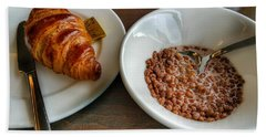 Breakfast Of Cereal And Croissant Bath Towel by Isabella F Abbie Shores FRSA