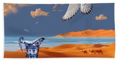 Bath Towel featuring the digital art Breakfast With White Falcon by Alexa Szlavics