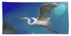 Breakin Dawn Flyer-the Great Egret Bath Towel