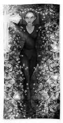 Breaking Through Darkness - Black And White Fantasy Art Bath Towel