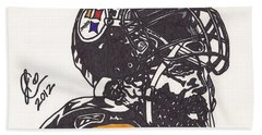 Bath Towel featuring the drawing Brett Keisel by Jeremiah Colley