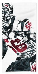 Hand Towel featuring the mixed media Brian Cushing Houston Texans Pixel Art by Joe Hamilton