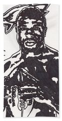 Bath Towel featuring the drawing Brian Westbrook by Jeremiah Colley