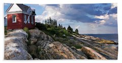 Brick Bell House At Pemaquid Point Light Hand Towel by Joy Nichols