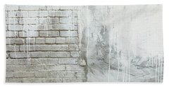 Bath Towel featuring the photograph Brick Texture White Paint Dripping Grunge Background by James BO InsognaBricks - Texture and White Paint Dripping Grunge Background