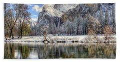 Bridalveil Falls From Valley View Yosemite National Park  Bath Towel