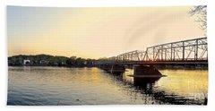Bridge And New Hope At Sunset Hand Towel