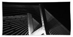 Bridge At Night Black And White Bath Towel
