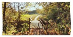 Bridge In Autumn Hand Towel by Janette Boyd