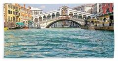 Bath Towel featuring the photograph Bridge In Venice by Roberta Byram