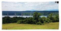 Bath Towel featuring the photograph Bridge Over The Hudson by Jeff Severson