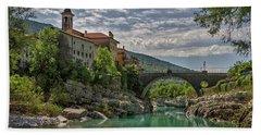 Hand Towel featuring the photograph Bridge Over The Soca - Kanal Slovenia by Stuart Litoff