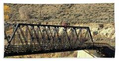 Bath Towel featuring the photograph Bridge Over The Thompson by Ann E Robson