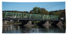 Hand Towel featuring the photograph Bridge To Lambertville 2 by Judy Wolinsky