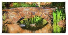 Hand Towel featuring the photograph Bridge With Ducks by Wade Brooks