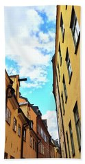 Bright Buildings In The Old Center Of Stockholm Bath Towel