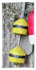 Bath Towel featuring the photograph Bright Buoys I by Marianne Campolongo