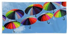 Bright Colorful Umbrellas  Bath Towel