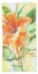 Bright Orange Flower Bath Towel