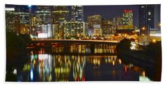 Bright Philly Night Hand Towel by Frozen in Time Fine Art Photography