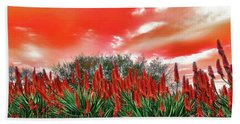 Bath Towel featuring the photograph Bright Red Aloe Flowers By Kaye Menner by Kaye Menner