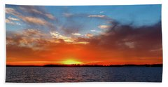 Bright Red Sunset Hand Towel by Doug Long