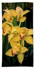 Bright Yellow Orchids Bath Towel