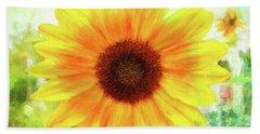 Bright Yellow Sunflower - Painted Summer Sunshine Bath Towel