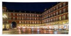 Brightly Lit Midnight - Plaza Mayor In Madrid Spain Hand Towel